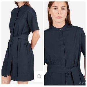 EVERLANE navy collarless belted shirt dress